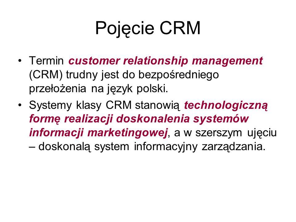 Pojęcie CRM Termin customer relationship management (CRM) trudny jest do bezpośredniego przełożenia na język polski. Systemy klasy CRM stanowią techno