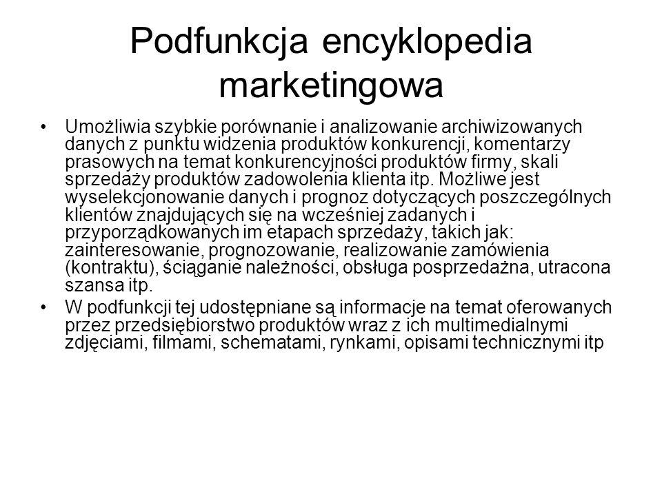 Podfunkcja encyklopedia marketingowa Umożliwia szybkie porównanie i analizowanie archiwizowanych danych z punktu widzenia produktów konkurencji, komentarzy prasowych na temat konkurencyjności produktów firmy, skali sprzedaży produktów zadowolenia klienta itp.