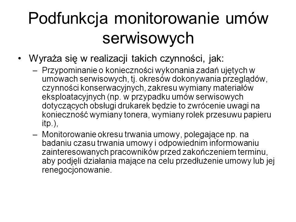 Podfunkcja monitorowanie umów serwisowych Wyraża się w realizacji takich czynności, jak: –Przypominanie o konieczności wykonania zadań ujętych w umowach serwisowych, tj.