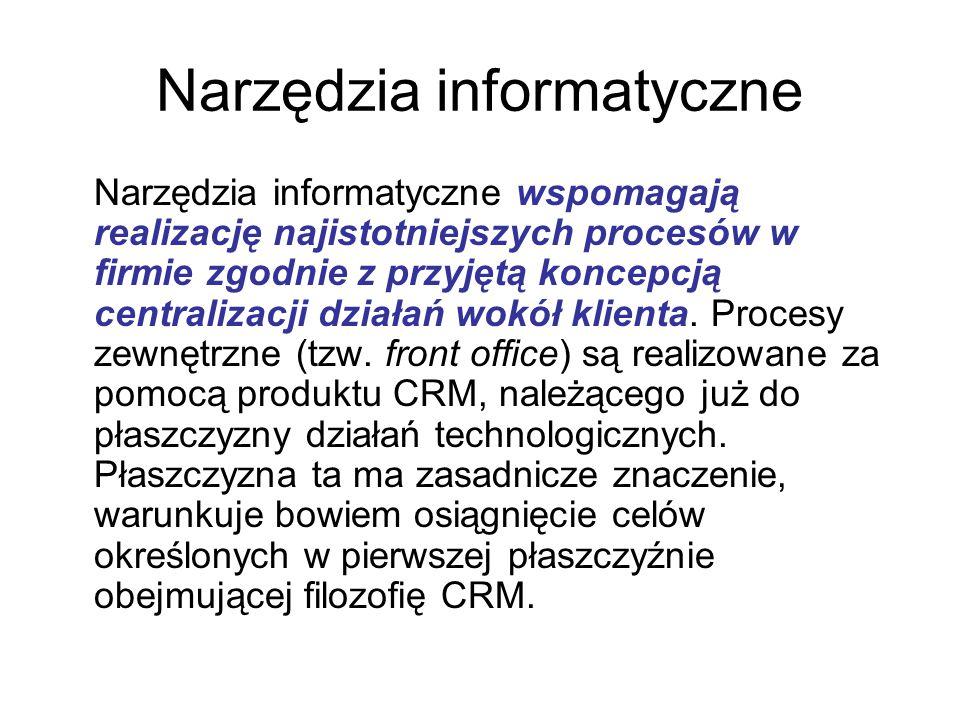 Narzędzia informatyczne Narzędzia informatyczne wspomagają realizację najistotniejszych procesów w firmie zgodnie z przyjętą koncepcją centralizacji działań wokół klienta.
