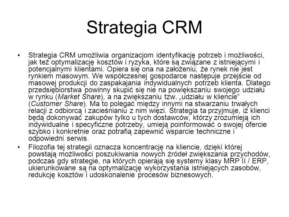 Strategia CRM Strategia CRM umożliwia organizacjom identyfikację potrzeb i możliwości, jak też optymalizację kosztów i ryzyka, które są związane z istniejącymi i potencjalnymi klientami.