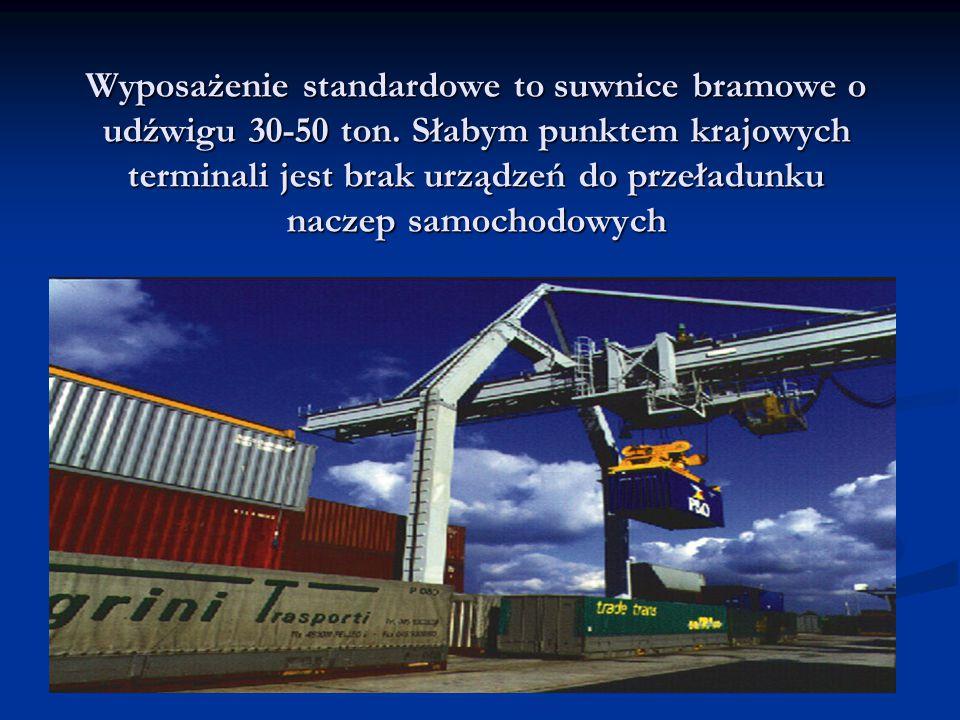 Wyposażenie standardowe to suwnice bramowe o udźwigu 30-50 ton. Słabym punktem krajowych terminali jest brak urządzeń do przeładunku naczep samochodow