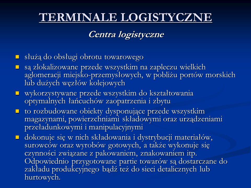 TERMINALE LOGISTYCZNE Centra logistyczne służą do obsługi obrotu towarowego służą do obsługi obrotu towarowego są zlokalizowane przede wszystkim na za
