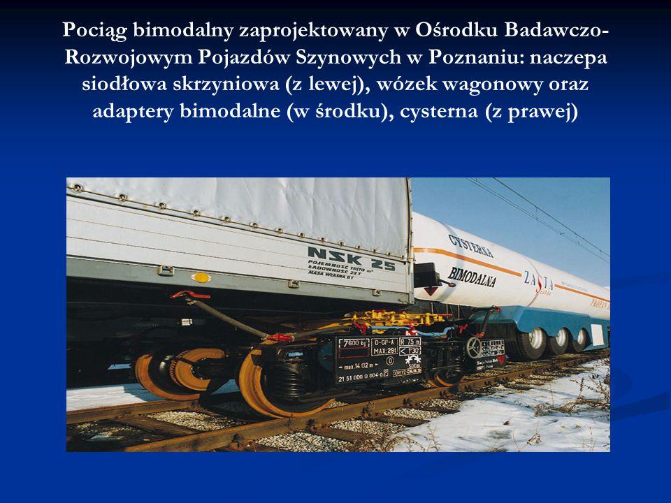 Pociąg bimodalny zaprojektowany w Ośrodku Badawczo- Rozwojowym Pojazdów Szynowych w Poznaniu: naczepa siodłowa skrzyniowa (z lewej), wózek wagonowy or