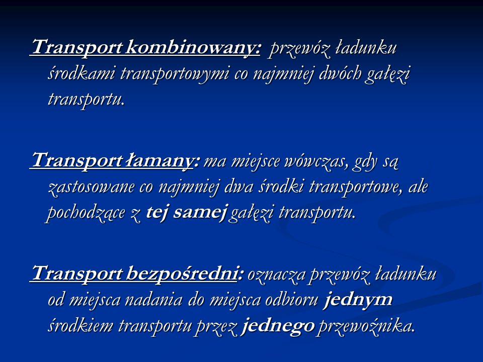 Transport kombinowany: przewóz ładunku środkami transportowymi co najmniej dwóch gałęzi transportu. Transport łamany: ma miejsce wówczas, gdy są zasto