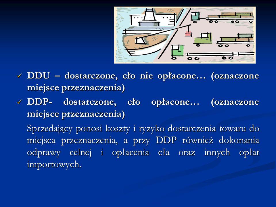 DDU – dostarczone, cło nie opłacone… (oznaczone miejsce przeznaczenia) DDU – dostarczone, cło nie opłacone… (oznaczone miejsce przeznaczenia) DDP- dos