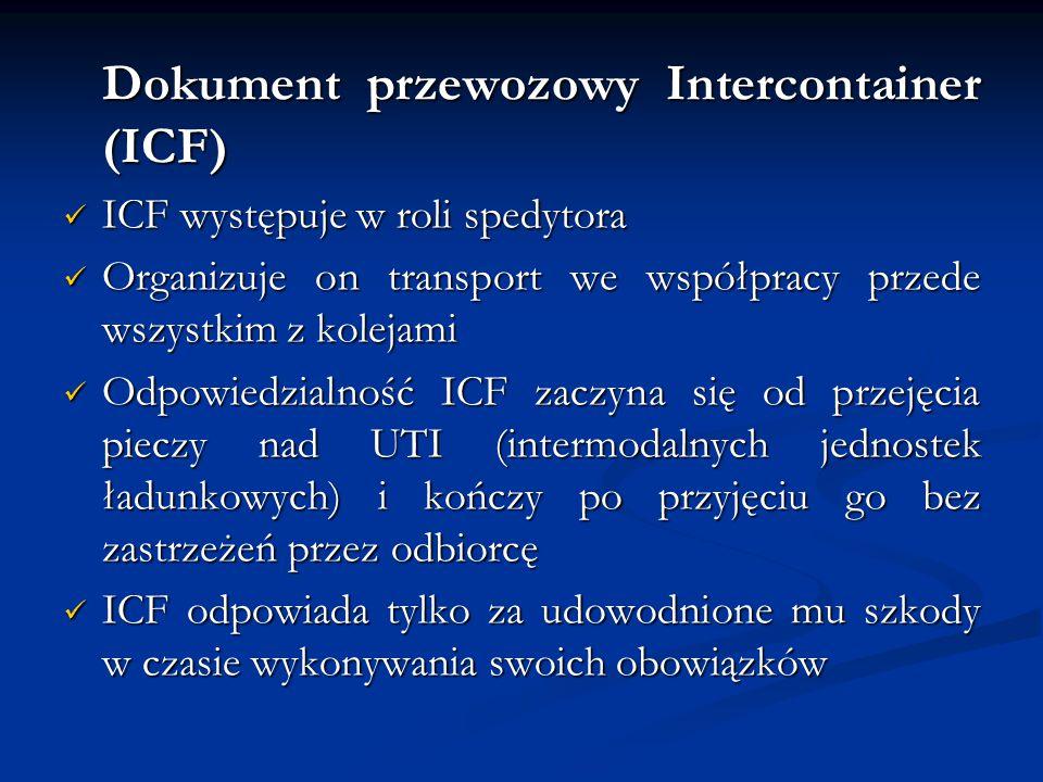 Dokument przewozowy Intercontainer (ICF) ICF występuje w roli spedytora ICF występuje w roli spedytora Organizuje on transport we współpracy przede ws