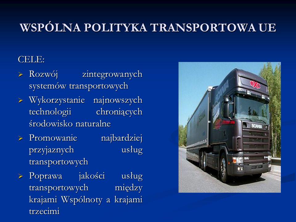WSPÓLNA POLITYKA TRANSPORTOWA UE CELE:  Rozwój zintegrowanych systemów transportowych  Wykorzystanie najnowszych technologii chroniących środowisko