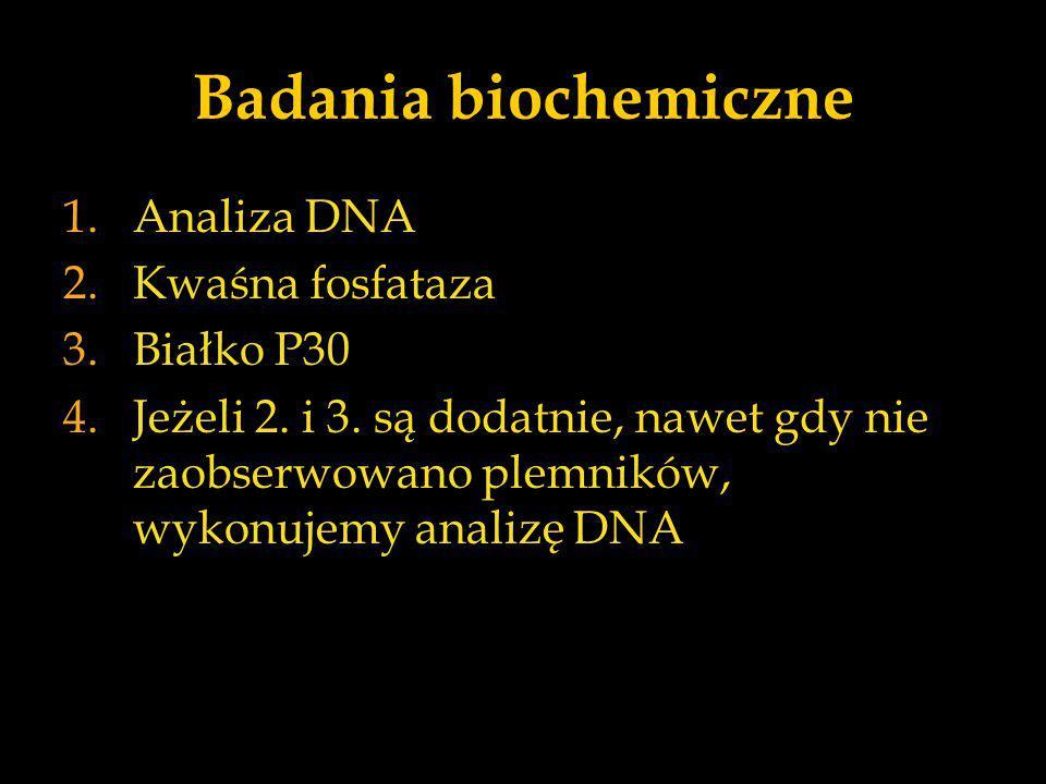 Badania biochemiczne 1.Analiza DNA 2.Kwaśna fosfataza 3.Białko P30 4.Jeżeli 2. i 3. są dodatnie, nawet gdy nie zaobserwowano plemników, wykonujemy ana