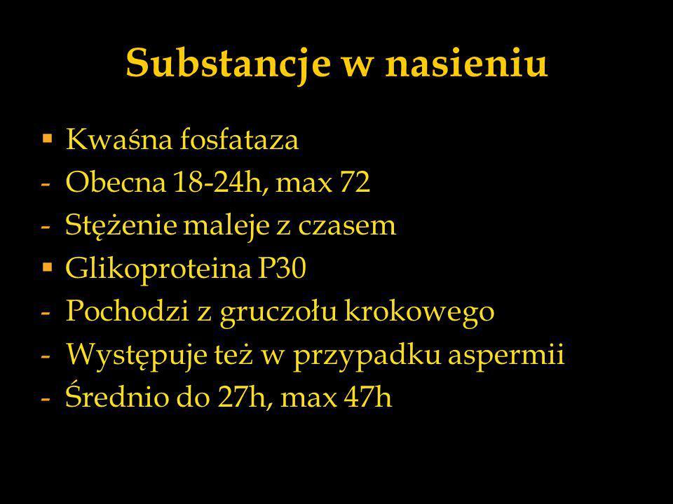 Substancje w nasieniu  Kwaśna fosfataza -Obecna 18-24h, max 72 -Stężenie maleje z czasem  Glikoproteina P30 -Pochodzi z gruczołu krokowego -Występuj