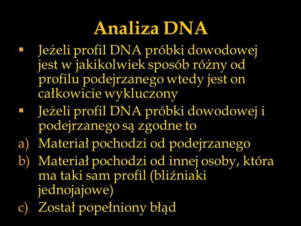 Analiza DNA  Jeżeli profil DNA próbki dowodowej jest w jakikolwiek sposób różny od profilu podejrzanego wtedy jest on całkowicie wykluczony  Jeżeli