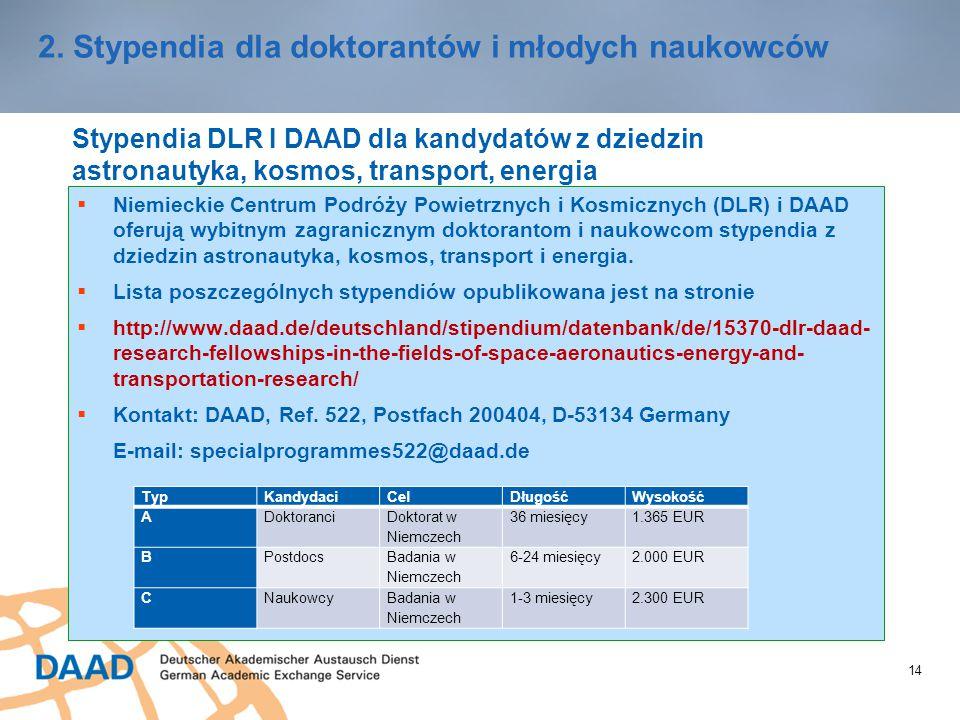 14 2. Stypendia dla doktorantów i młodych naukowców Stypendia DLR I DAAD dla kandydatów z dziedzin astronautyka, kosmos, transport, energia  Niemieck
