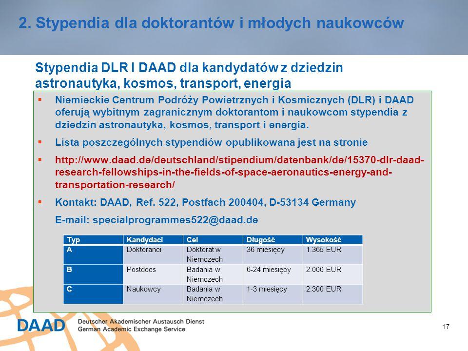 17 2. Stypendia dla doktorantów i młodych naukowców Stypendia DLR I DAAD dla kandydatów z dziedzin astronautyka, kosmos, transport, energia  Niemieck