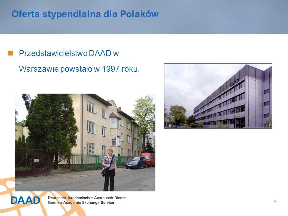 4 Oferta stypendialna dla Polaków Przedstawicielstwo DAAD w Warszawie powstało w 1997 roku.