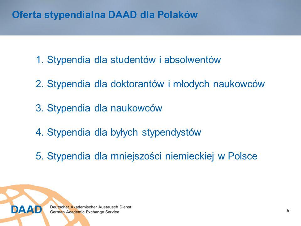 6 Oferta stypendialna DAAD dla Polaków 1.Stypendia dla studentów i absolwentów 2.Stypendia dla doktorantów i młodych naukowców 3.Stypendia dla naukowc