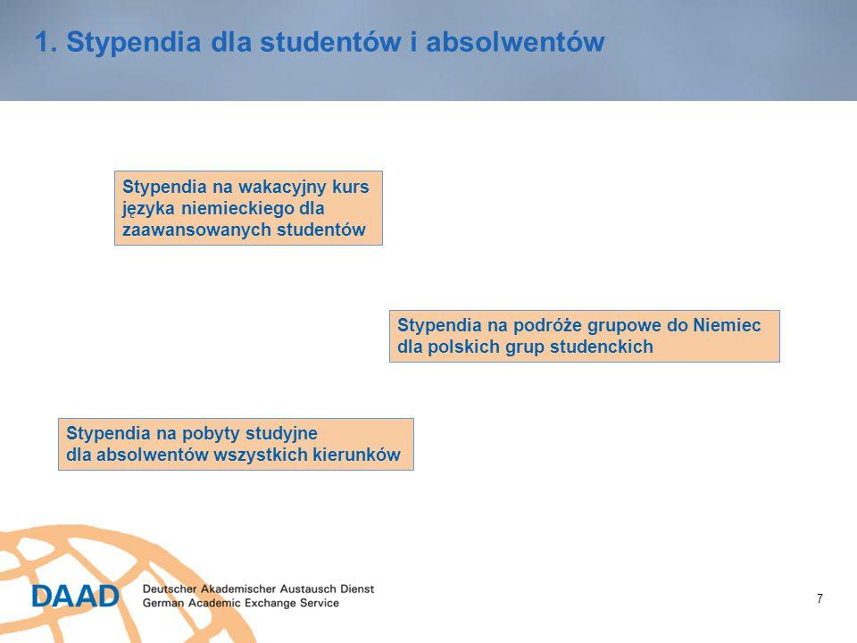 7 1.Stypendia dla studentów i absolwentów Stypendia na wakacyjny kurs języka niemieckiego dla zaawansowanych studentów Stypendia na podróże grupowe do