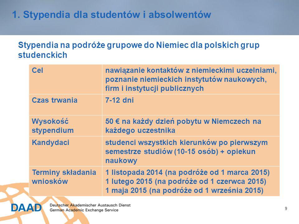 9 1.Stypendia dla studentów i absolwentów Stypendia na podróże grupowe do Niemiec dla polskich grup studenckich Celnawiązanie kontaktów z niemieckimi