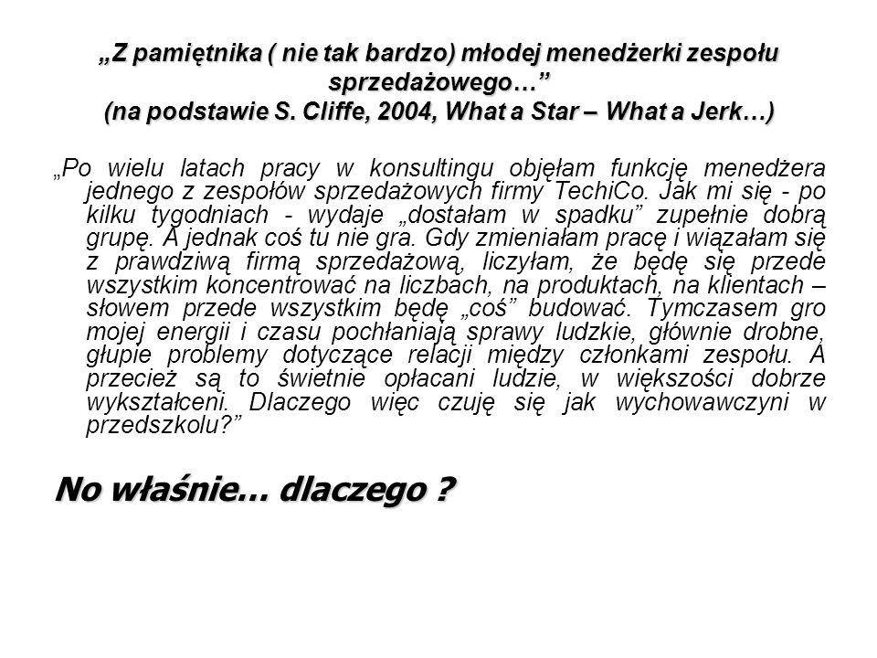"""""""Z pamiętnika ( nie tak bardzo) młodej menedżerki zespołu sprzedażowego…"""" (na podstawie S. Cliffe, 2004, What a Star – What a Jerk…) """"Po wielu latach"""