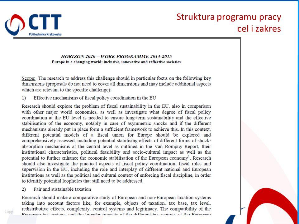 Struktura programu pracy cel i zakres