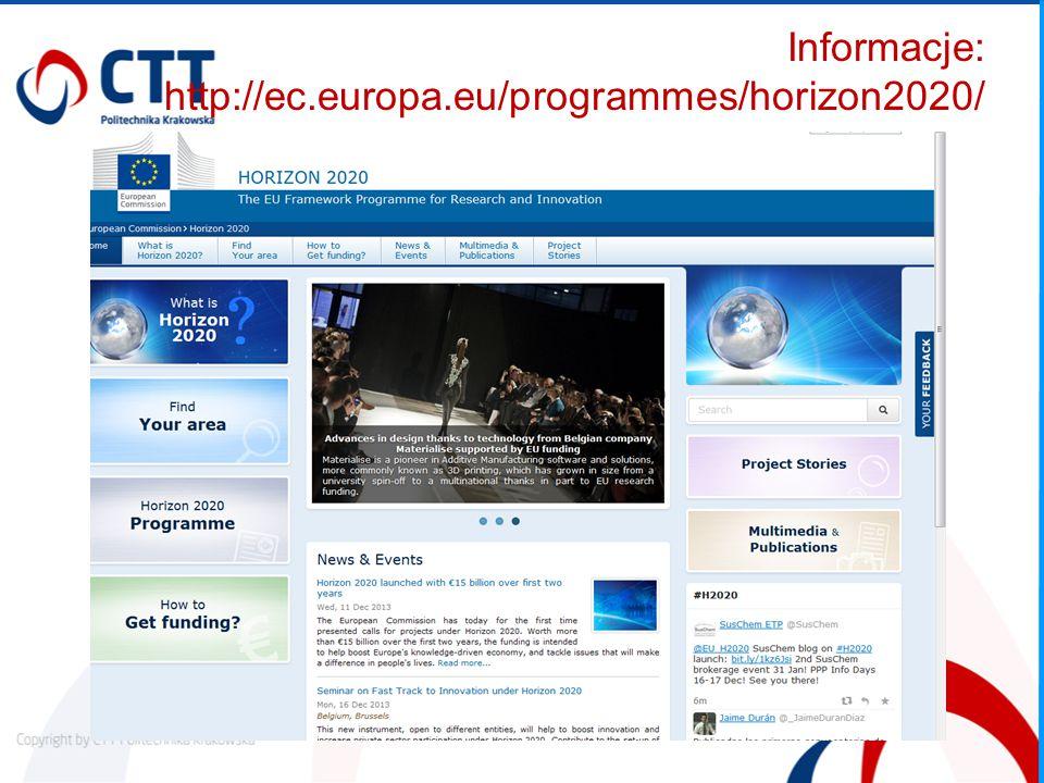 Informacje: http://ec.europa.eu/programmes/horizon2020/