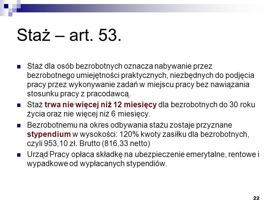 22 Staż – art. 53. Staż dla osób bezrobotnych oznacza nabywanie przez bezrobotnego umiejętności praktycznych, niezbędnych do podjęcia pracy przez wyko