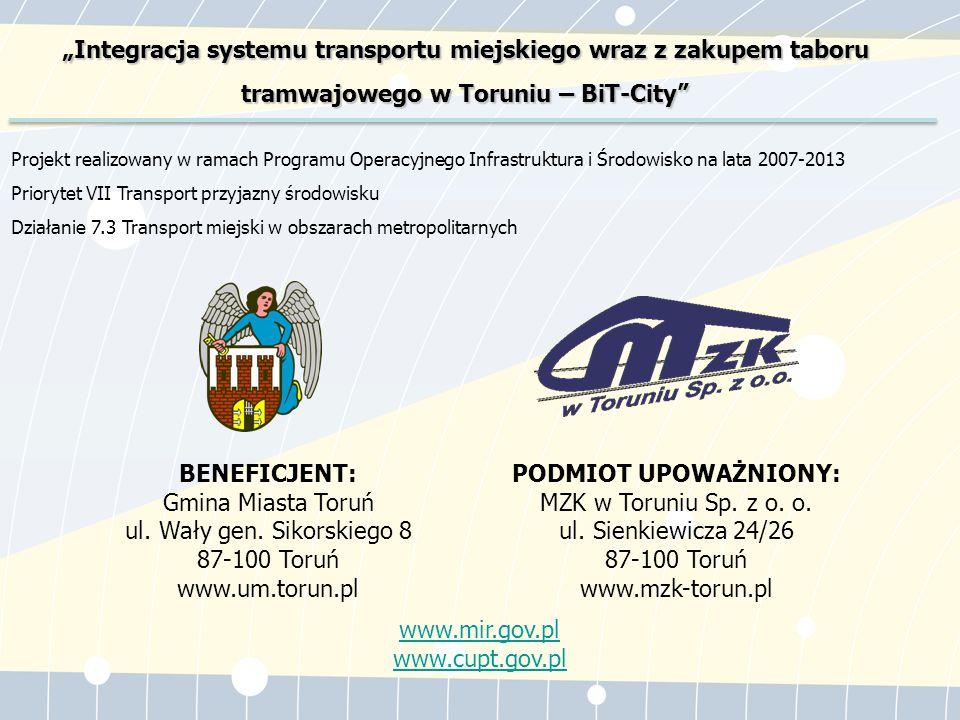Przedmiotem Projektu jest budowa sprawnie funkcjonującego systemu komunikacji miejskiej w Toruniu zintegrowanego z Szybką Koleją Metropolitarną BiT-City.