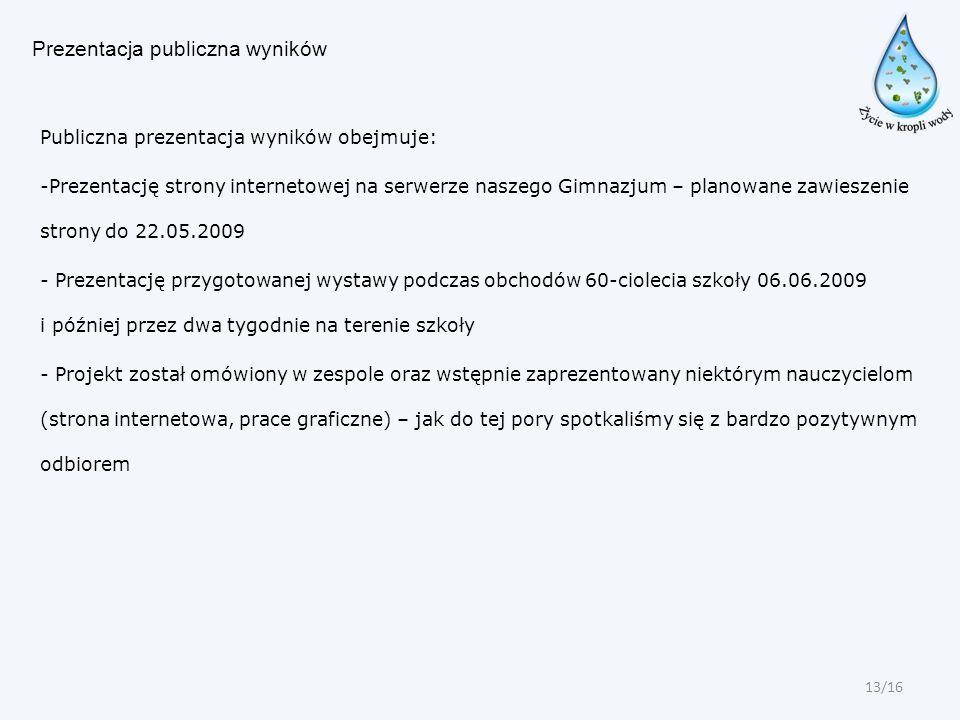 Prezentacja publiczna wyników Publiczna prezentacja wyników obejmuje: -Prezentację strony internetowej na serwerze naszego Gimnazjum – planowane zawie