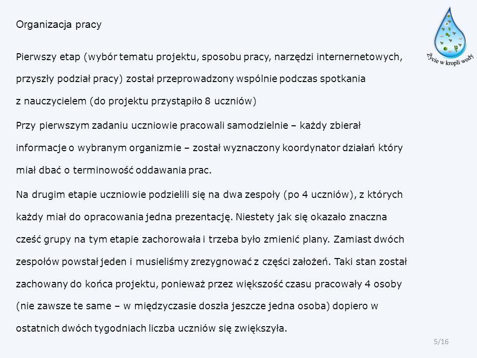 Organizacja pracy Pierwszy etap (wybór tematu projektu, sposobu pracy, narzędzi internernetowych, przyszły podział pracy) został przeprowadzony wspóln