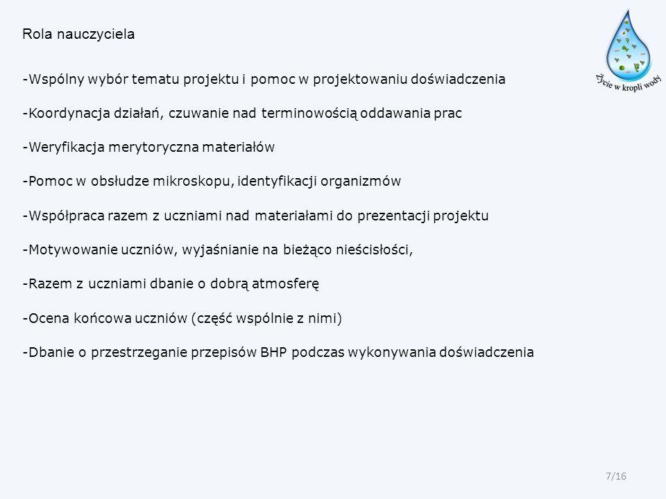 Rola nauczyciela -Wspólny wybór tematu projektu i pomoc w projektowaniu doświadczenia -Koordynacja działań, czuwanie nad terminowością oddawania prac