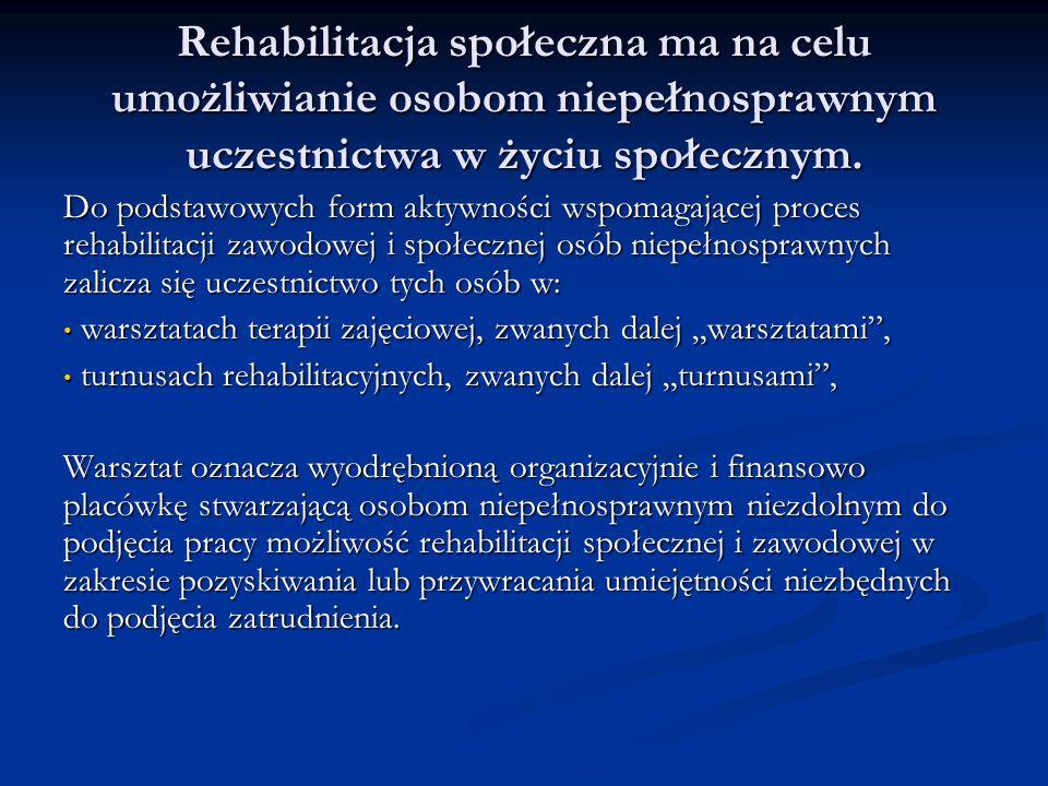 Rehabilitacja społeczna ma na celu umożliwianie osobom niepełnosprawnym uczestnictwa w życiu społecznym. Do podstawowych form aktywności wspomagającej
