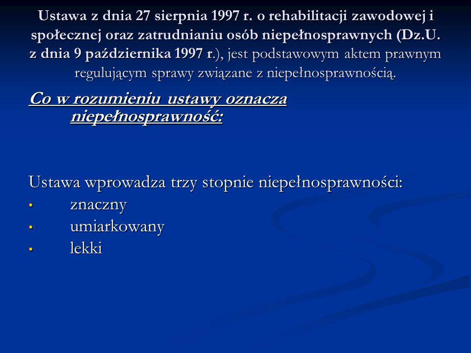 Ustawa z dnia 27 sierpnia 1997 r. o rehabilitacji zawodowej i społecznej oraz zatrudnianiu osób niepełnosprawnych (Dz.U. z dnia 9 października 1997 r.