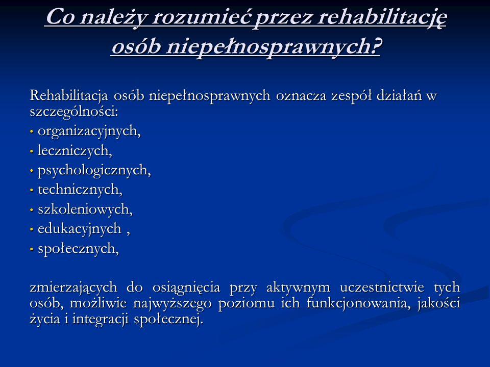 Co należy rozumieć przez rehabilitację osób niepełnosprawnych? Rehabilitacja osób niepełnosprawnych oznacza zespół działań w szczególności: organizacy