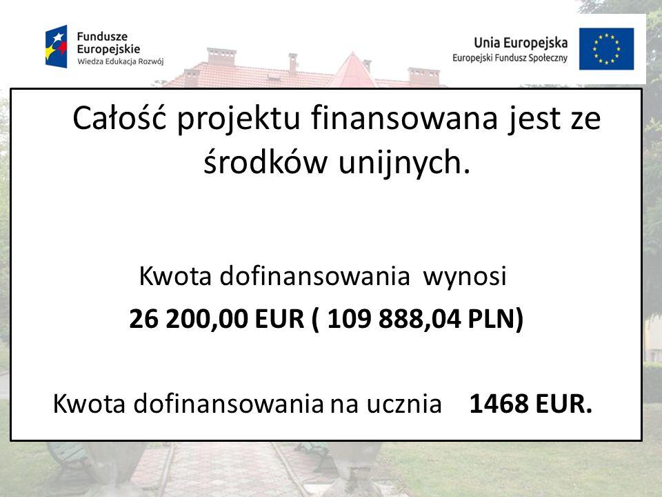 Całość projektu finansowana jest ze środków unijnych.