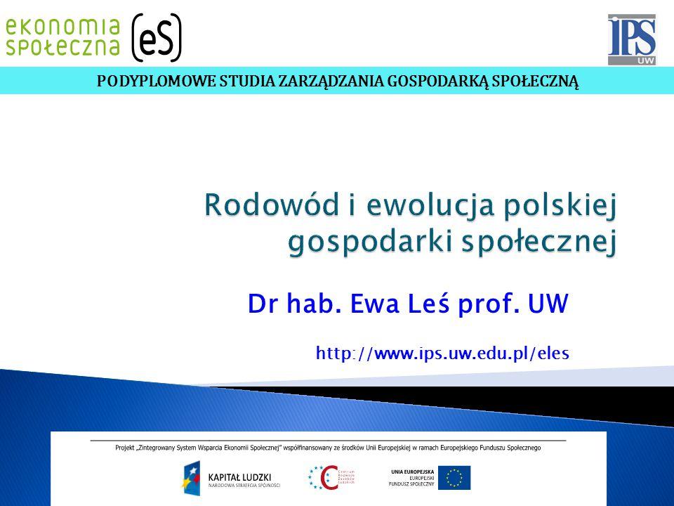 Dr hab. Ewa Leś prof. UW http://www.ips.uw.edu.pl/eles PODYPLOMOWE STUDIA ZARZĄDZANIA GOSPODARKĄ SPOŁECZNĄ