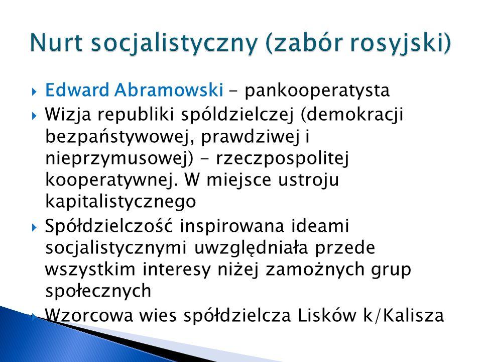  Edward Abramowski - pankooperatysta  Wizja republiki spóldzielczej (demokracji bezpaństywowej, prawdziwej i nieprzymusowej) - rzeczpospolitej kooperatywnej.