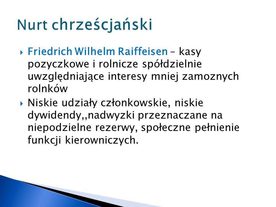  Friedrich Wilhelm Raiffeisen – kasy pozyczkowe i rolnicze spółdzielnie uwzględniające interesy mniej zamoznych rolnków  Niskie udziały członkowskie