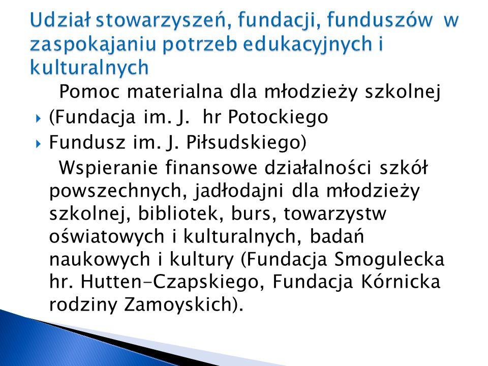 Pomoc materialna dla młodzieży szkolnej  (Fundacja im. J. hr Potockiego  Fundusz im. J. Piłsudskiego) Wspieranie finansowe działalności szkół powsze