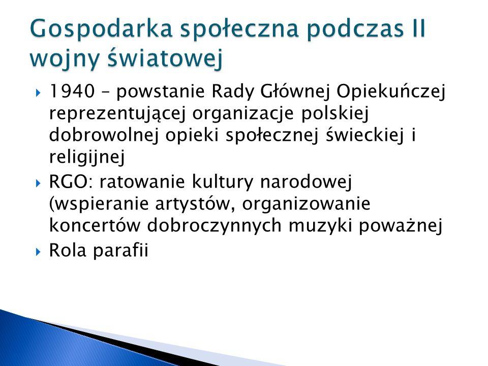  1940 – powstanie Rady Głównej Opiekuńczej reprezentującej organizacje polskiej dobrowolnej opieki społecznej świeckiej i religijnej  RGO: ratowanie