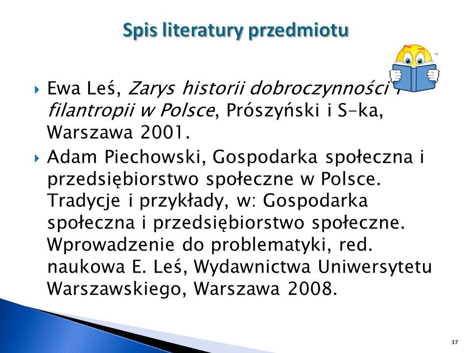  Ewa Leś, Zarys historii dobroczynności i filantropii w Polsce, Prószyński i S-ka, Warszawa 2001.  Adam Piechowski, Gospodarka społeczna i przedsięb