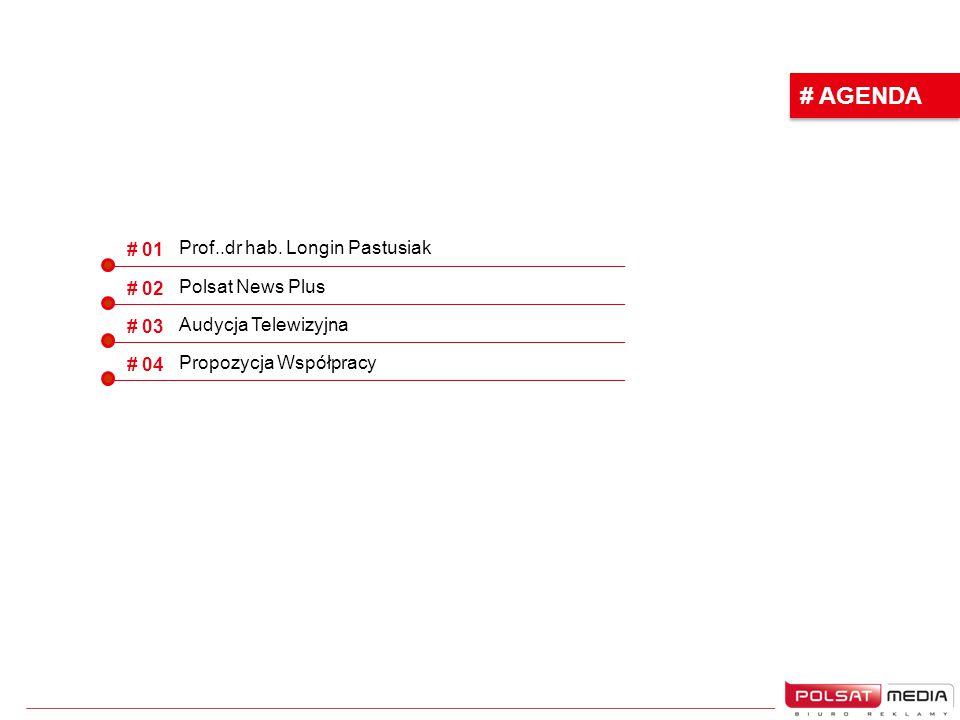 # AGENDA # 01 # 02 # 03 # 04 Prof..dr hab. Longin Pastusiak Polsat News Plus Audycja Telewizyjna Propozycja Współpracy