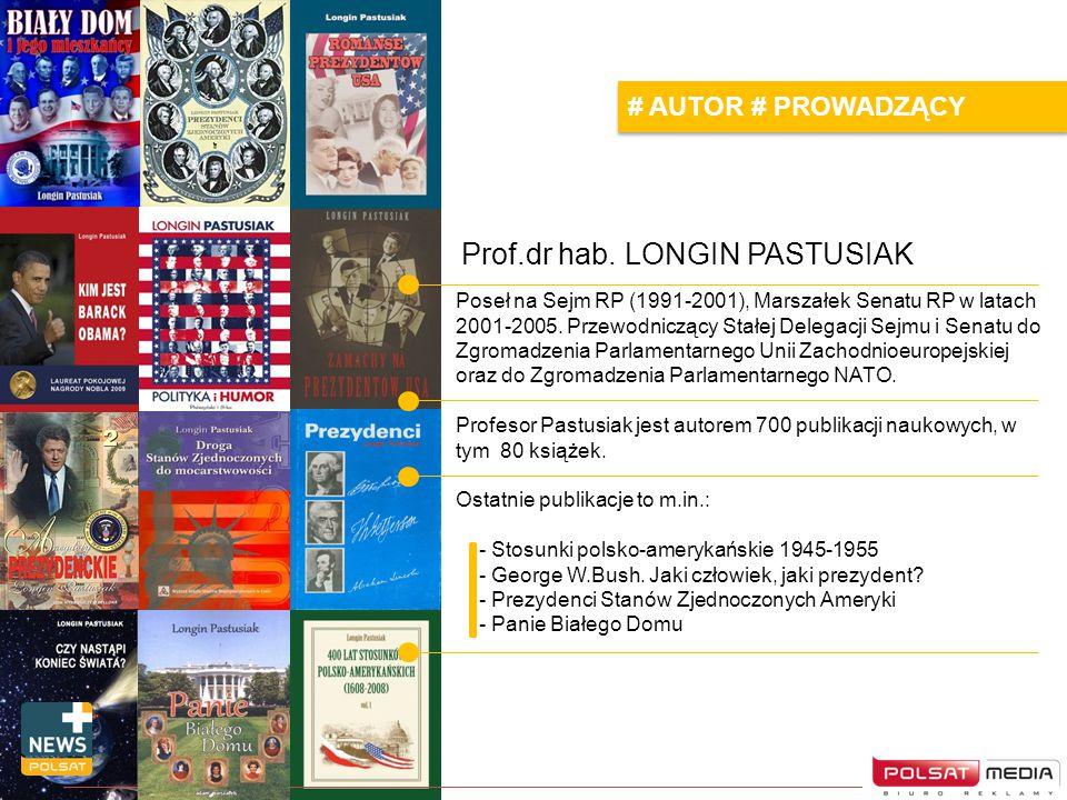 Prof.dr hab. LONGIN PASTUSIAK Poseł na Sejm RP (1991-2001), Marszałek Senatu RP w latach 2001-2005. Przewodniczący Stałej Delegacji Sejmu i Senatu do