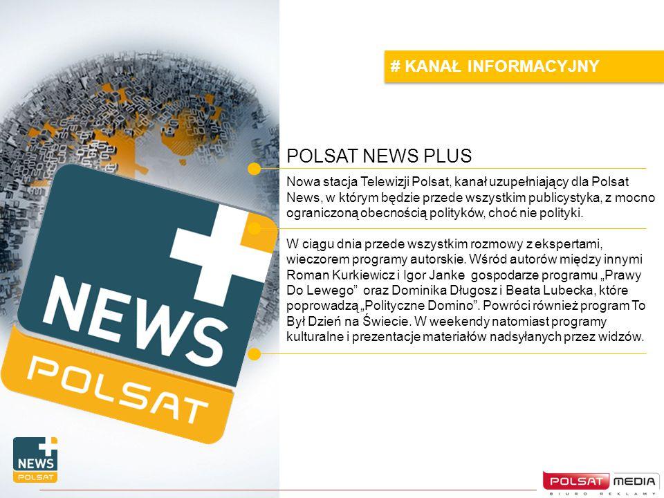 POLSAT NEWS PLUS # KANAŁ INFORMACYJNY Nowa stacja Telewizji Polsat, kanał uzupełniający dla Polsat News, w którym będzie przede wszystkim publicystyka