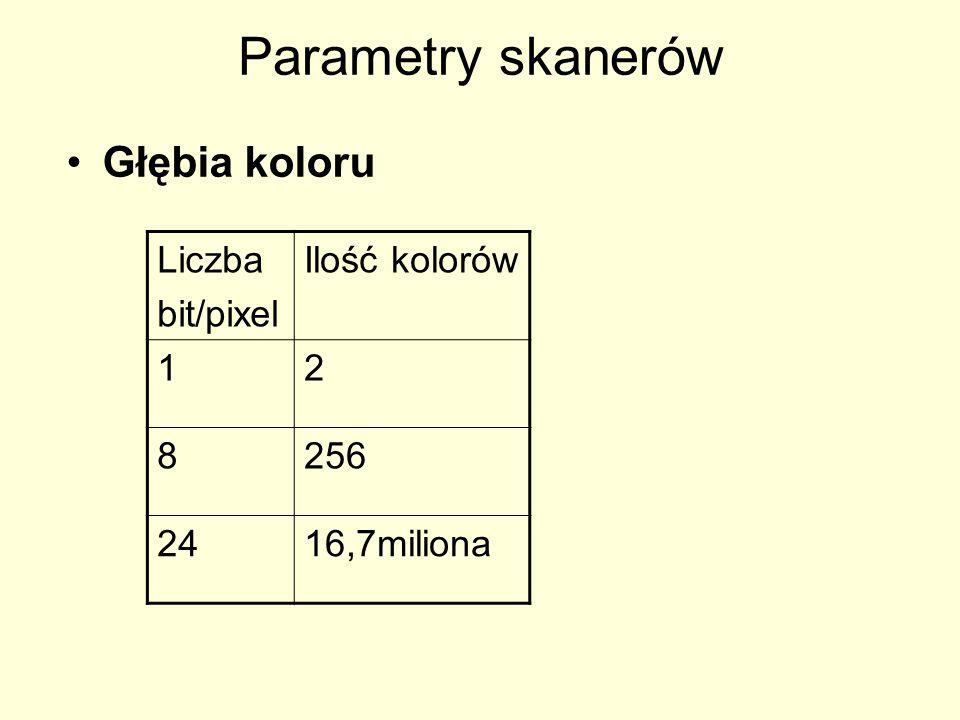 Rozmiar zdjęcia Rozmiary zdjęcia Rozdzielczość i liczba bitów na piksel (dpi) mają decydujący wpływ na wielkość pliku graficznego, powstałego przy skanowaniu (oraz na prędkość skanowania).