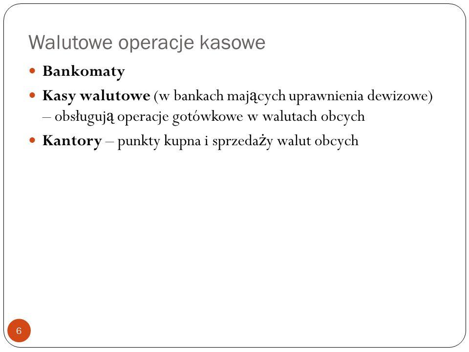 Walutowe operacje kasowe Bankomaty Kasy walutowe (w bankach maj ą cych uprawnienia dewizowe) – obsługuj ą operacje gotówkowe w walutach obcych Kantory