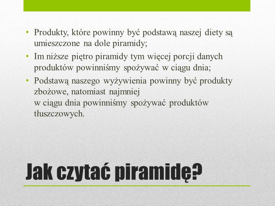 Jak czytać piramidę? Produkty, które powinny być podstawą naszej diety są umieszczone na dole piramidy; Im niższe piętro piramidy tym więcej porcji da