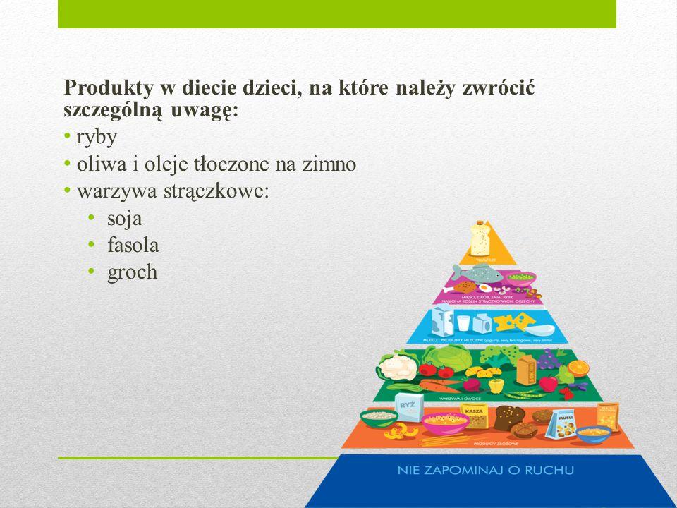 Produkty w diecie dzieci, na które należy zwrócić szczególną uwagę: ryby oliwa i oleje tłoczone na zimno warzywa strączkowe: soja fasola groch