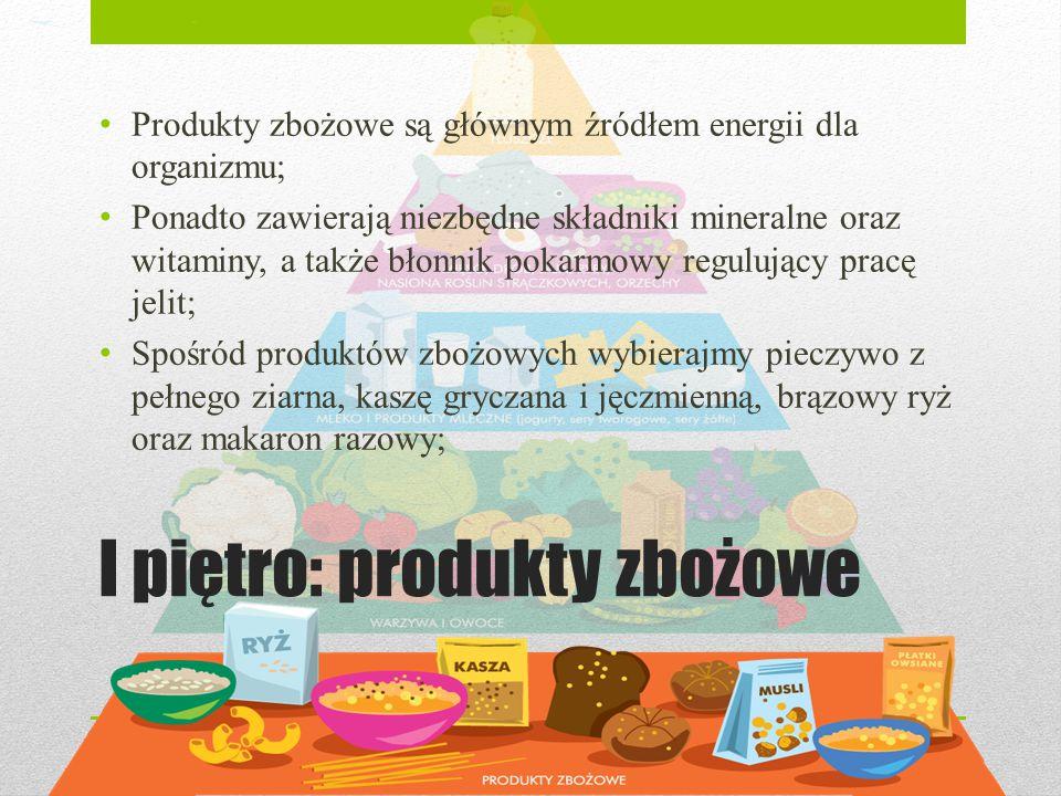 I piętro: produkty zbożowe Produkty zbożowe są głównym źródłem energii dla organizmu; Ponadto zawierają niezbędne składniki mineralne oraz witaminy, a