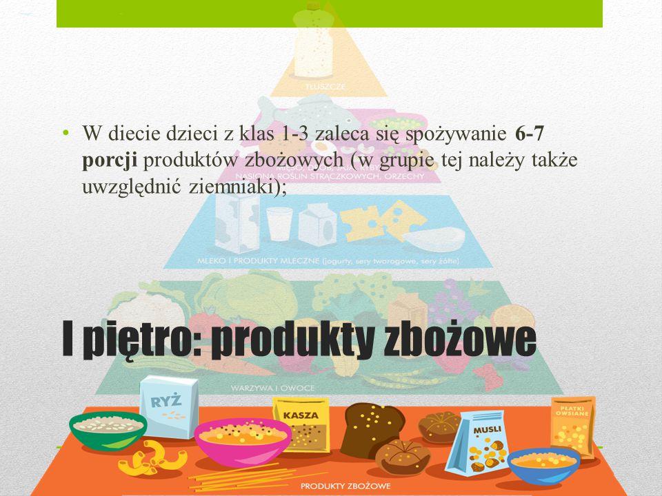 I piętro: produkty zbożowe W diecie dzieci z klas 1-3 zaleca się spożywanie 6-7 porcji produktów zbożowych (w grupie tej należy także uwzględnić ziemn
