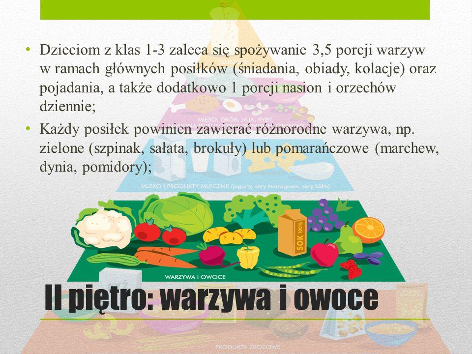II piętro: warzywa i owoce Dzieciom z klas 1-3 zaleca się spożywanie 3,5 porcji warzyw w ramach głównych posiłków (śniadania, obiady, kolacje) oraz po