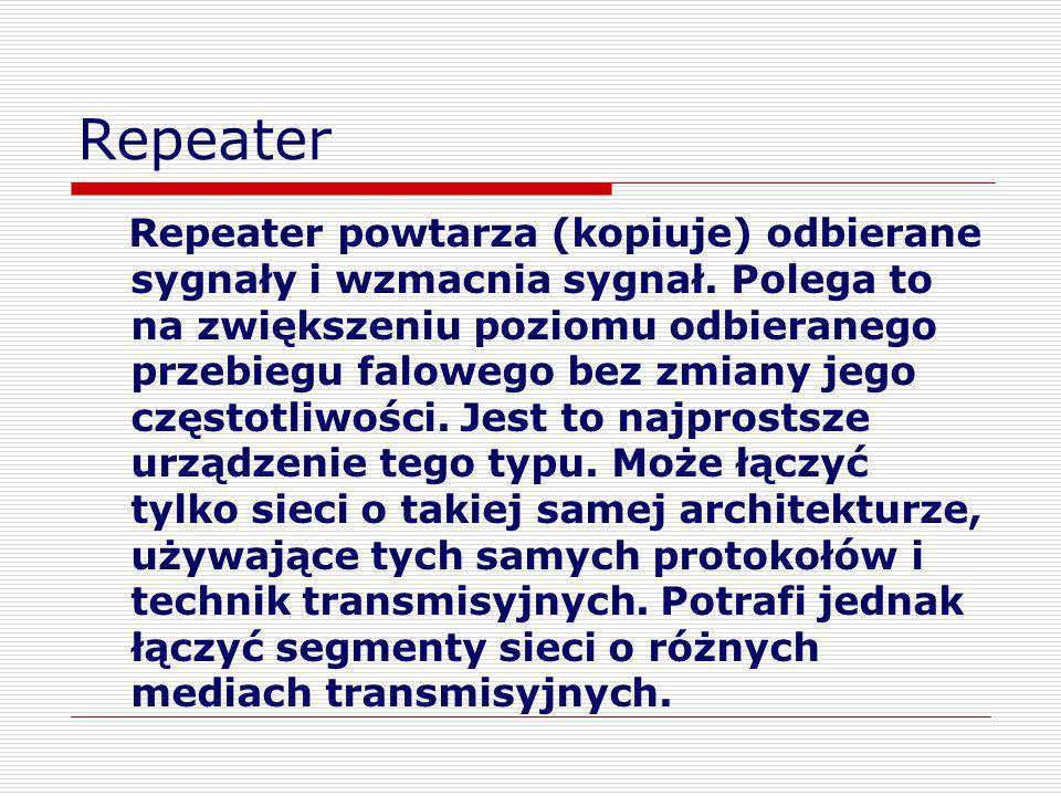 Repeater Repeater powtarza (kopiuje) odbierane sygnały i wzmacnia sygnał. Polega to na zwiększeniu poziomu odbieranego przebiegu falowego bez zmiany j